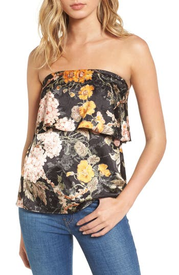 WAYF Floral Strapless Top