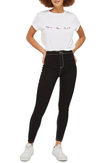 Topshop Joni Contrast Stitch Skinny Jeans