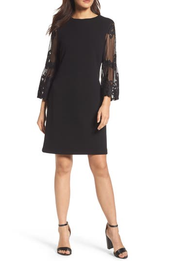 Forest Lily Lace Bell Sleeve Shift Dress