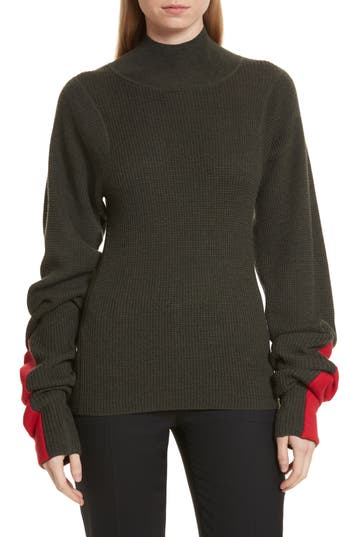 JOSEPH Mock Neck Merino Wool Sweater