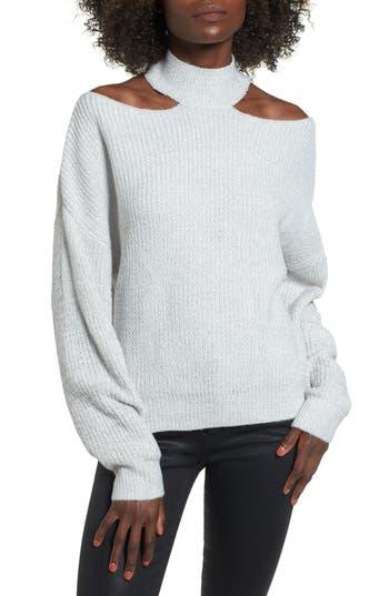 Woven Heart Cutout Turtleneck Sweater