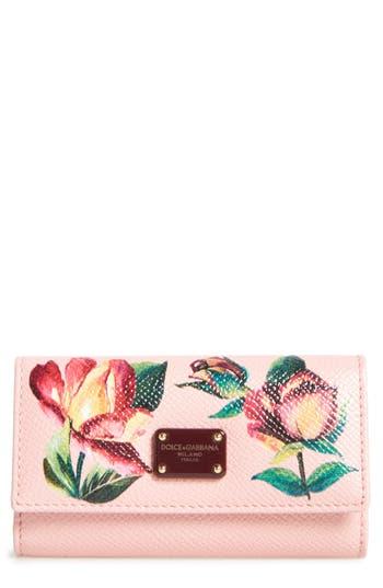 Dolce&Gabbana Painted Rose Dauphine Leather Key Holder