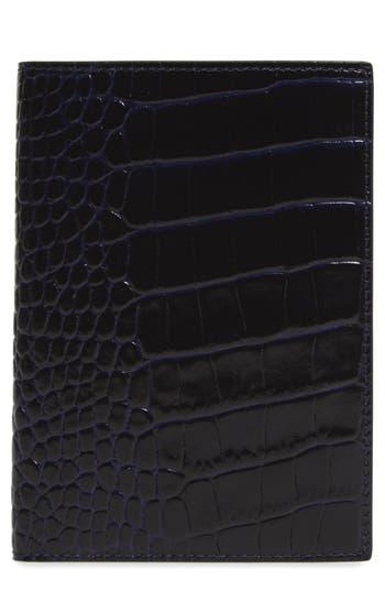 Smythson Mara Croc Embossed Leather Passport Case