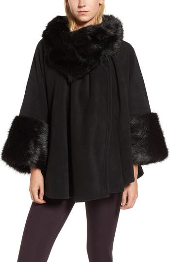 Parkhurst Chelsea Cape with Faux Fur Trim