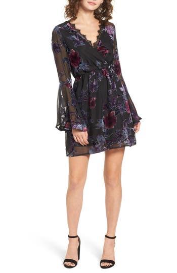 Dee Elly Burnout Velvet Bell Sleeve Dress