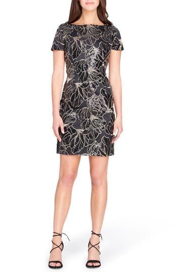 Tahari Sequin Floral Sheath Dr..