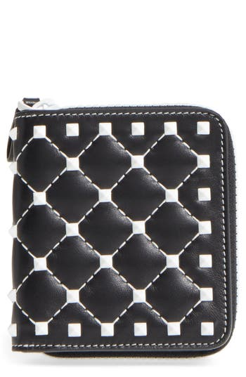 VALENTINO GARAVANI Rockstud Matelassé Leather French Wallet