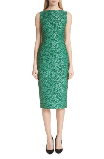 Brandon Maxwell Leopard Jacquard Sheath Dress