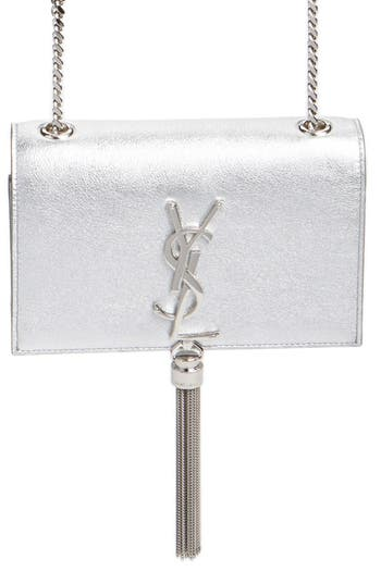'small Monogram' Metallic Calfskin Leather Crossbody Bag by Saint Laurent