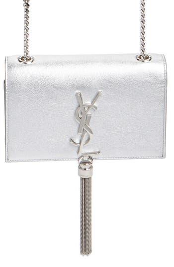 'small Monogram' Metallic Calfskin Leather Crossbody Bag by Saint Laurent