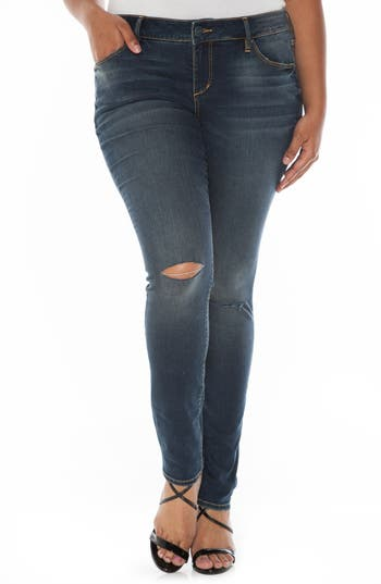 SLINK Jeans Ripped Knee Stretch Skinny Jeans (Plus Size)