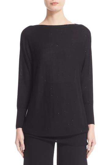 Lela Rose Sequin Knit Silk Blend Sweater