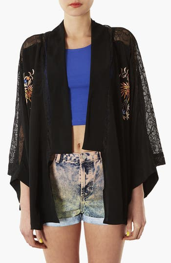 Alternate Image 1 Selected - Topshop Embroidered Kimono Cardigan