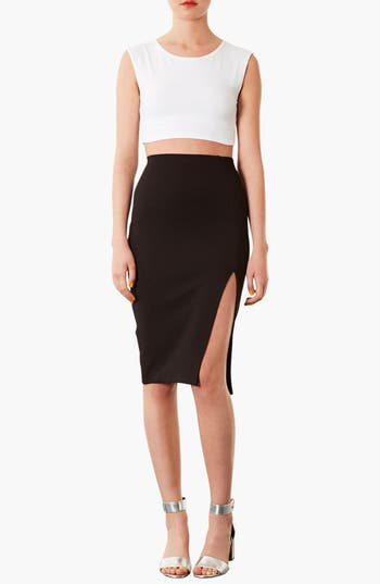 Alternate Image 3  - Topshop Textured Pencil Skirt