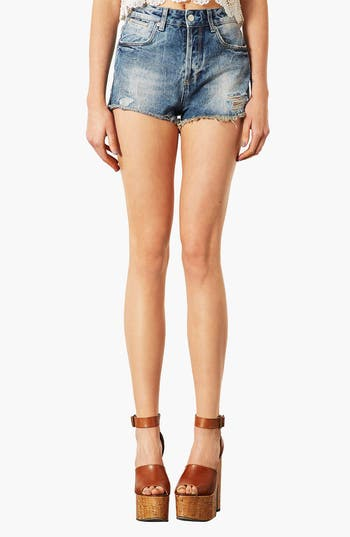 Main Image - Topshop 'Waterless Ruthie' Destroyed Cutoff Denim Shorts (Mid Stone)