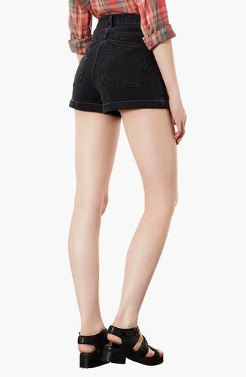 Alternate Image 2  - Topshop Moto 'Mom' High Rise Denim Shorts (Black)