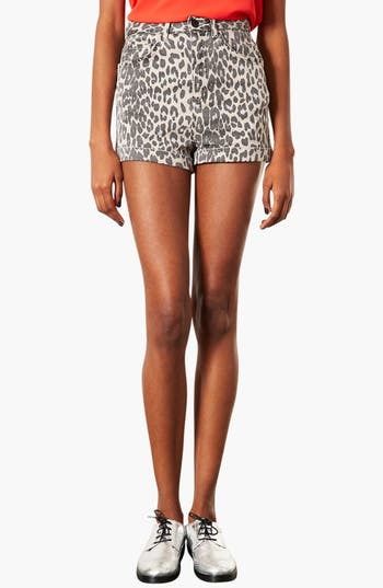 Alternate Image 1 Selected - Topshop Moto Leopard Print Hot Pants