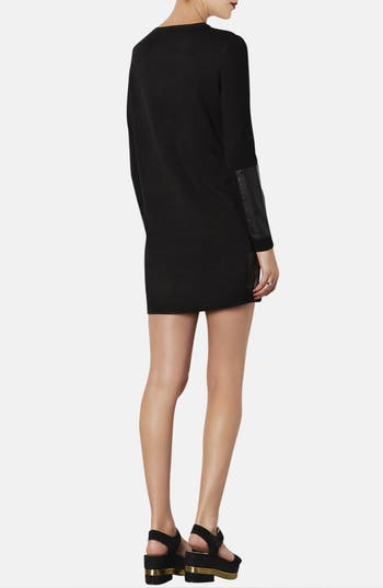 Alternate Image 2  - Topshop Faux Leather Panel Sweater Dress