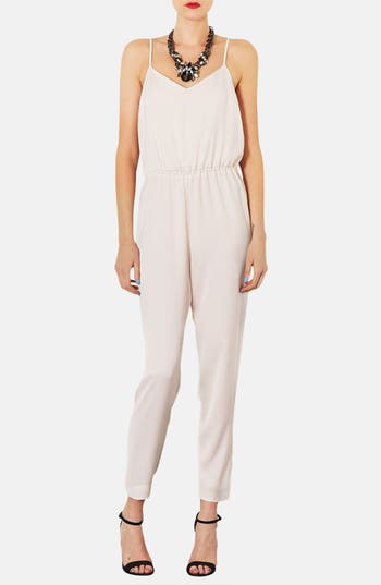 Main Image - Topshop Strappy Satin Jumpsuit