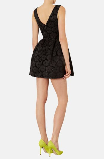 Alternate Image 2  - Topshop Floral Jacquard Fit & Flare Dress