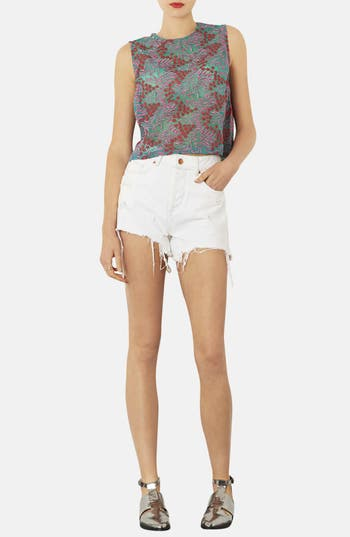Alternate Image 4  - Topshop Floral Embroidered Shell