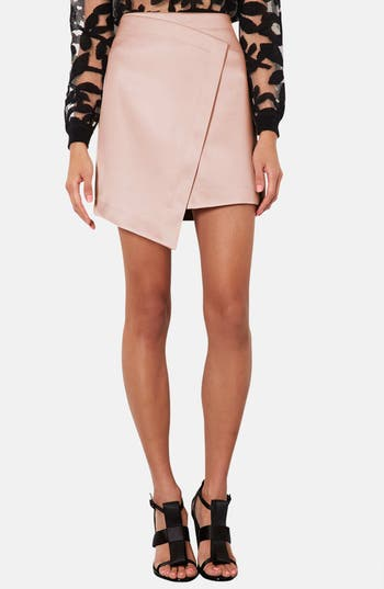 Alternate Image 1 Selected - Topshop Faux Wrap Satin Skirt