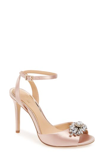 Jewel Badgley Mischka Hayden Embellished Ankle Strap Sandal (Women)