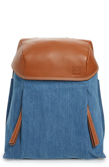 Loewe T Small Denim & Leather Backpack