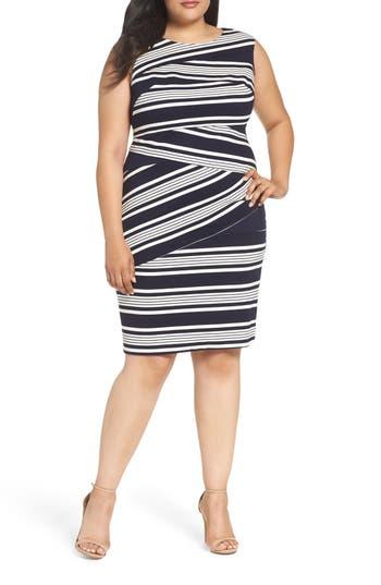 Adrianna Papell Stripe Body-Con Dress (Plus Size)