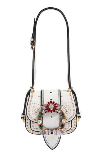 Miu Miu Dahlia Madras Leather Shoulder Bag