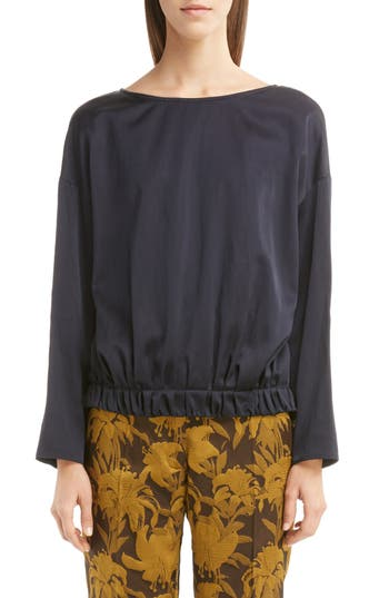 Dries Van Noten Velvet Back Gathered Blouse