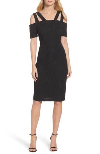 Eliza J Shimmer Cold Shoulder Sheath Dress