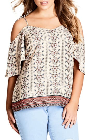 City Chic Print Cold Shoulder Top (Plus Size)
