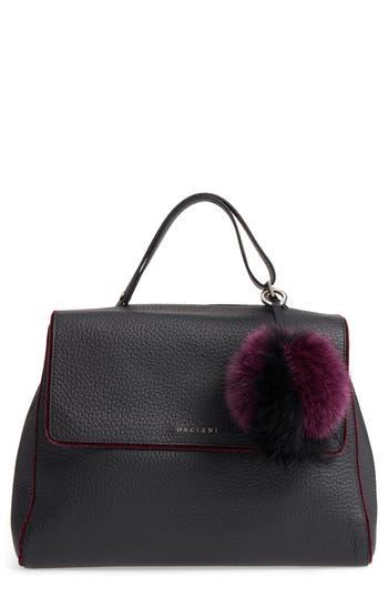 Orciani Large Sveva Soft Leather Top Handle Satchel with Genuine Fur Bag Charm