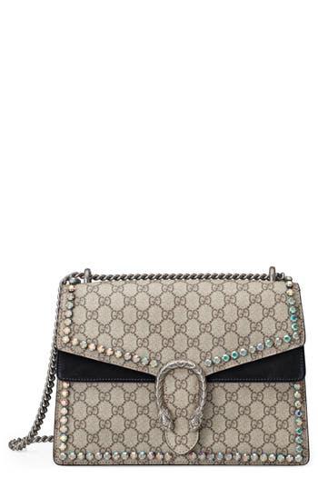 Gucci Medium Dionysus Crystal Embellished GG Supreme Canvas & Suede Shoulder Bag