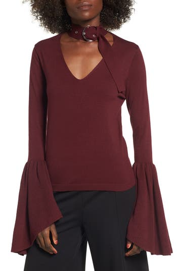 Leith Buckled Choker Bell Sleeve Sweater