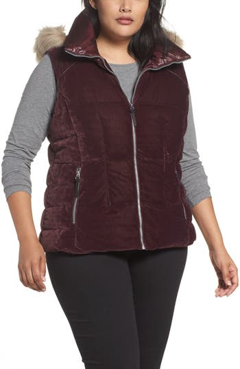 Andrew Marc Down Velvet Vest with Faux Fur Trim (Plus Size)