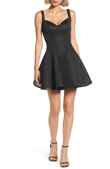 La Femme Sweetheart Neoprene Fit & Flare Dress