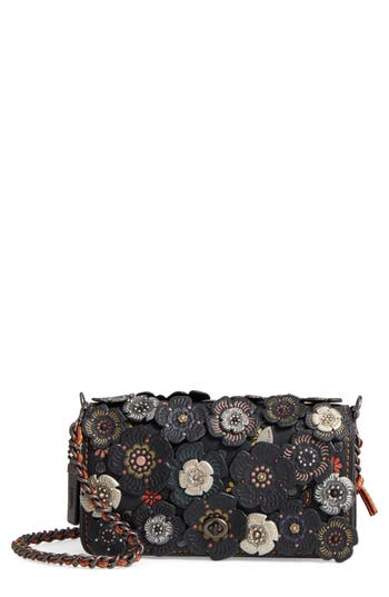COACH 1941 Embellished Tea Rose Dinky Leather Crossbody Clutch