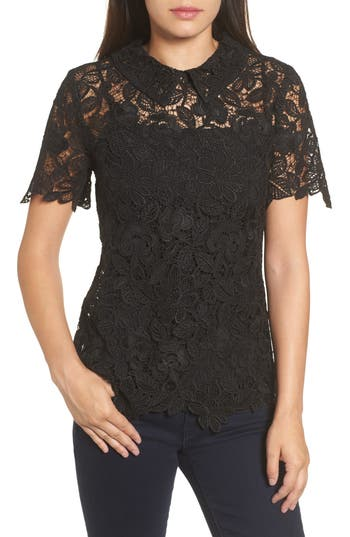 Halogen® Collared Lace Top
