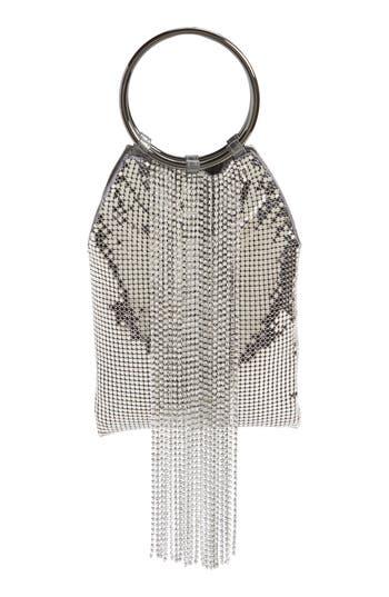 Whiting & Davis Cascade Crystal Fringe Mesh Bracelet Bag
