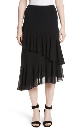 Fuzzi Ruffle Tulle Midi Skirt