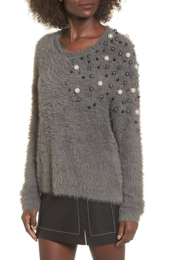 Leith Embellished Faux Fur Sweater