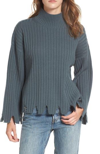 Moon River Chewed Hem Turtleneck Sweater