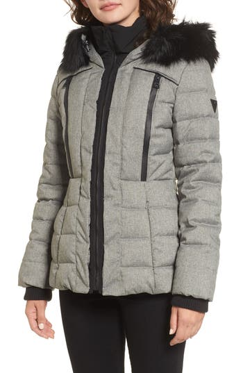 GUESS Quilted Hooded Puffe..
