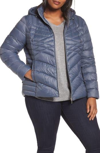 Halogen® Hooded Down Blend Puffer Jacket (Plus Size)