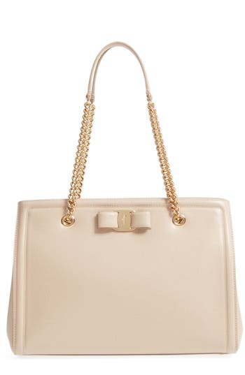 Salvatore Ferragamo Pebbled Leather Shopper