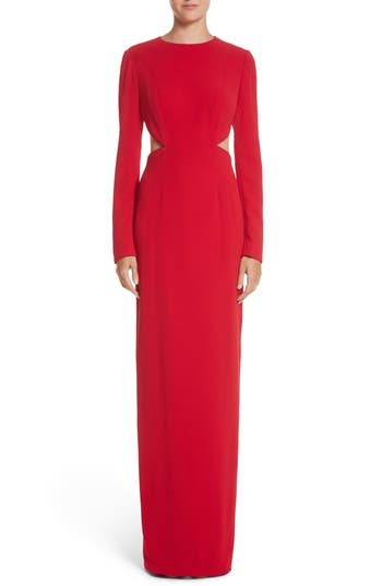 Pamella Roland Illusion Back Stretch Crepe Gown