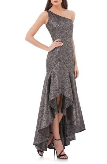 Carmen Marc Valvo Infusion One-Shoulder Metallic Gown