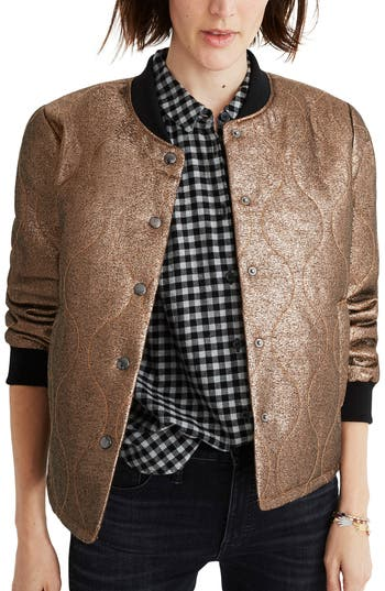 Madewell Metallic Quilted Military Jacket